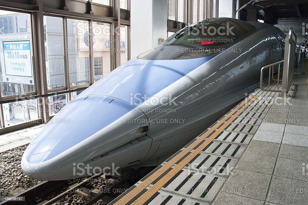 Shinkansen bullet train at railway station stock photo