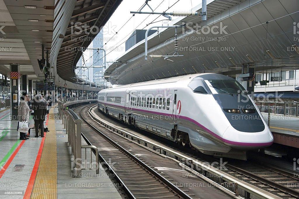 Shinkansen bullet train at Tokyo railway station stock photo