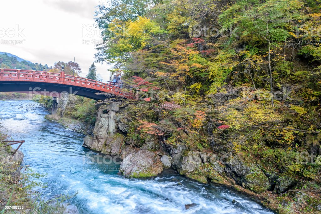 Shinkyo Bridge during Autumn in Nikko, stock photo