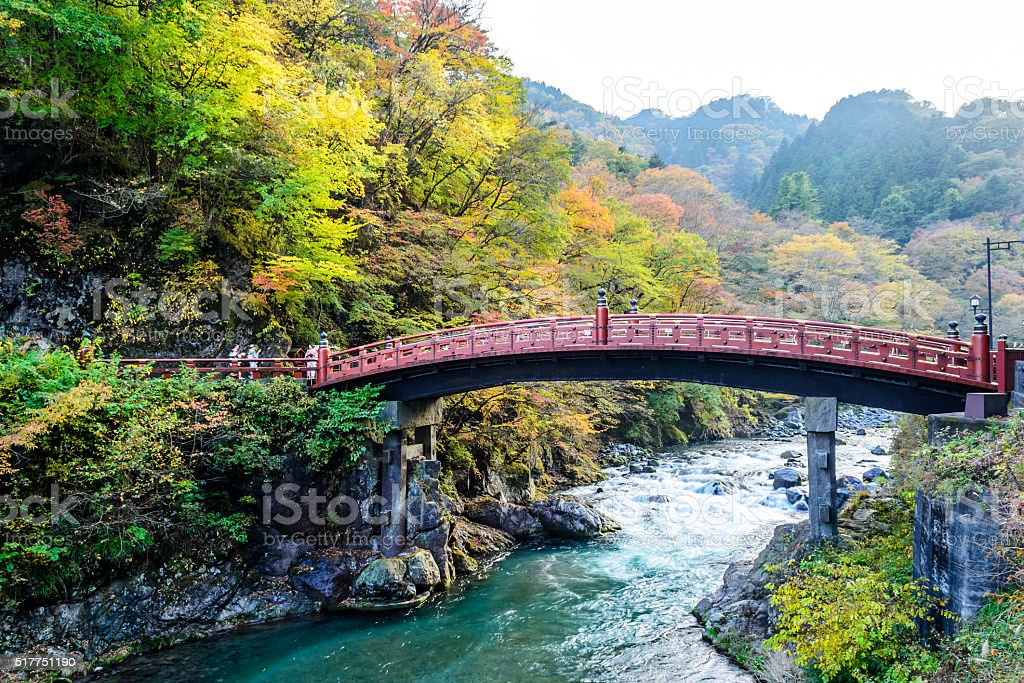 Shinkyo Bridge during Autumn in Nikko, Tochigi, Japan stock photo