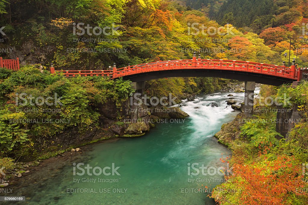 Shinkyo Bridge in Nikko, Japan in autumn stock photo