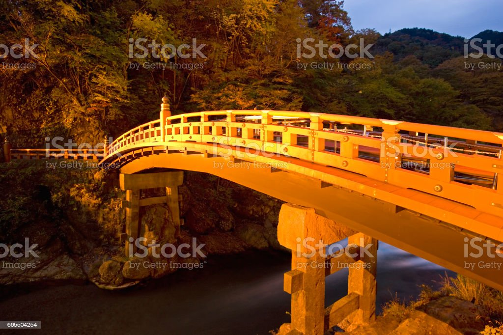 Shinkyo bridge was lit up stock photo