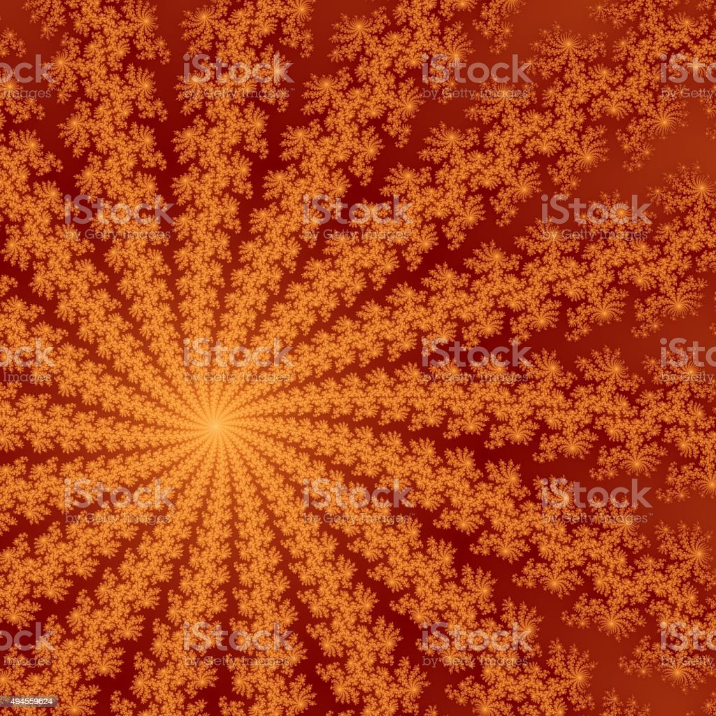 Shinning red and orange fractal flower in red background. stock photo