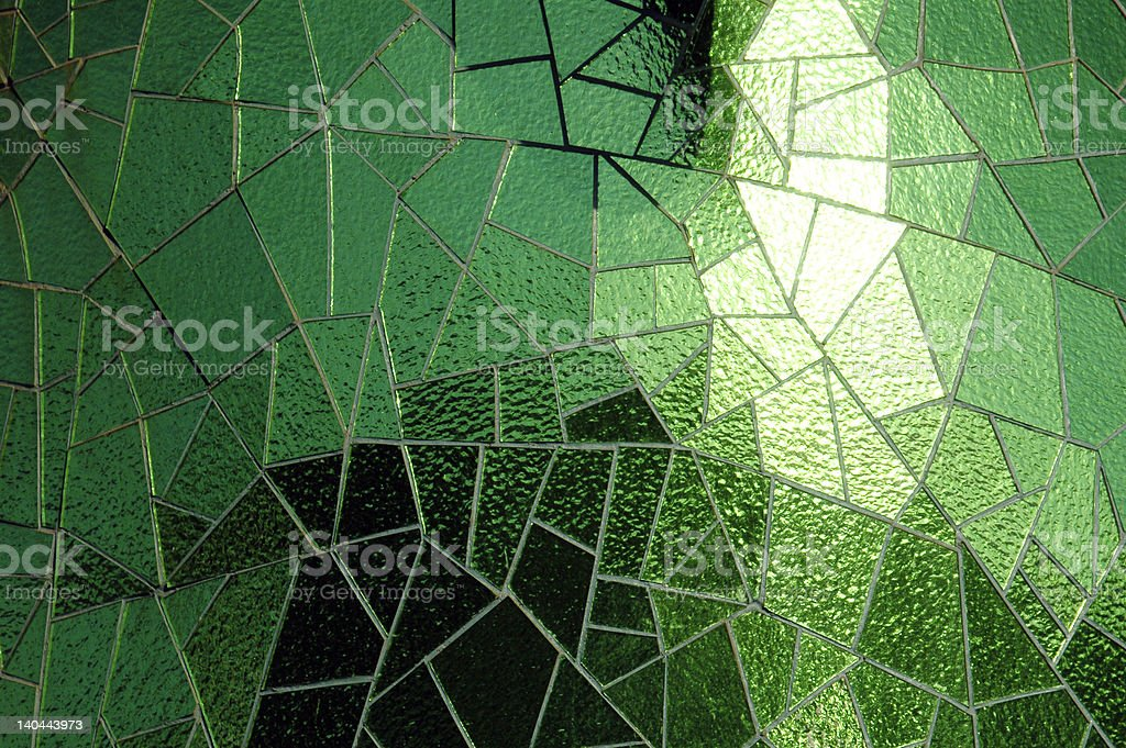 Shinny, green glass mosaic with reflections royalty-free stock photo