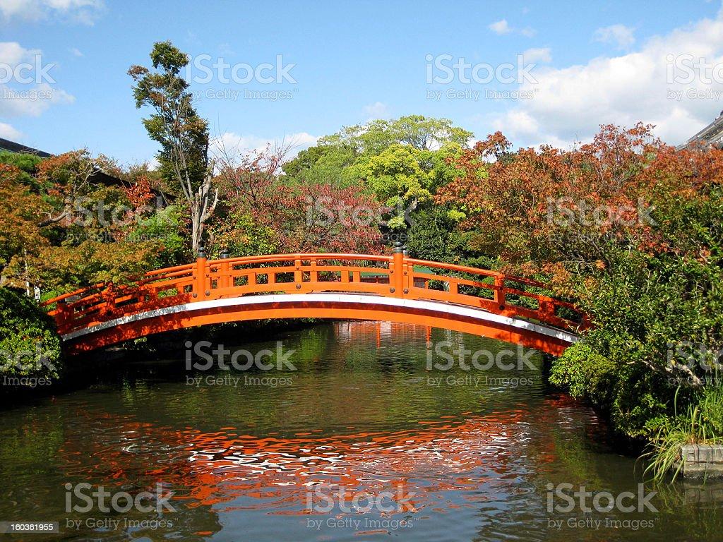 Shinsen-en Garden Bridge - Kyoto, Japan royalty-free stock photo