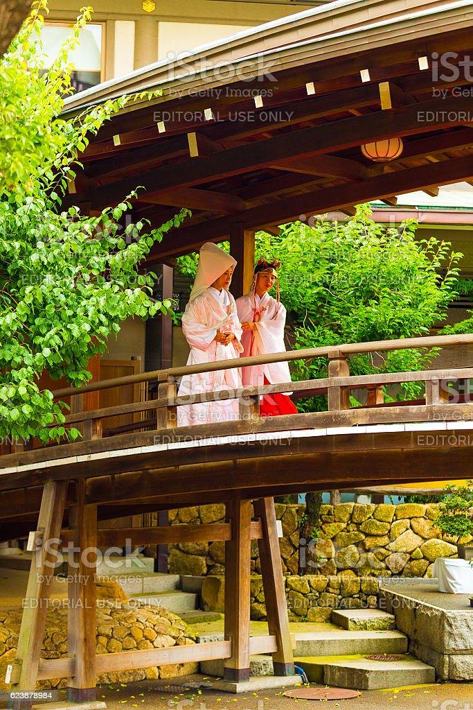 Shinto Wedding Bride Miko Kimono Yushima Tenmangu stock photo