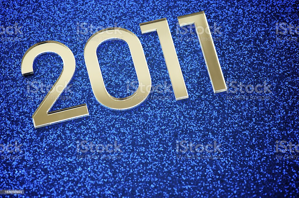 Shiny 2011 Message on Sparkly Blue royalty-free stock photo