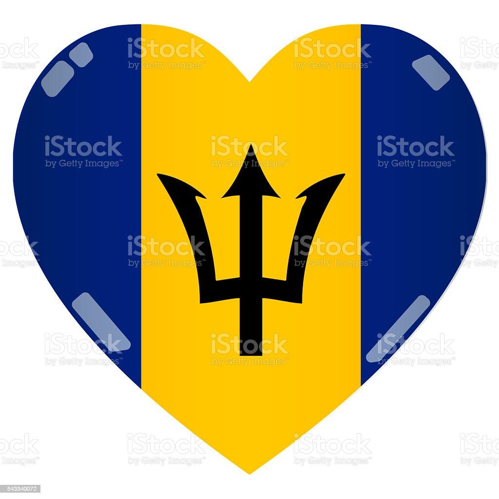 Shiny 2D Barbados Flag Heart stock photo