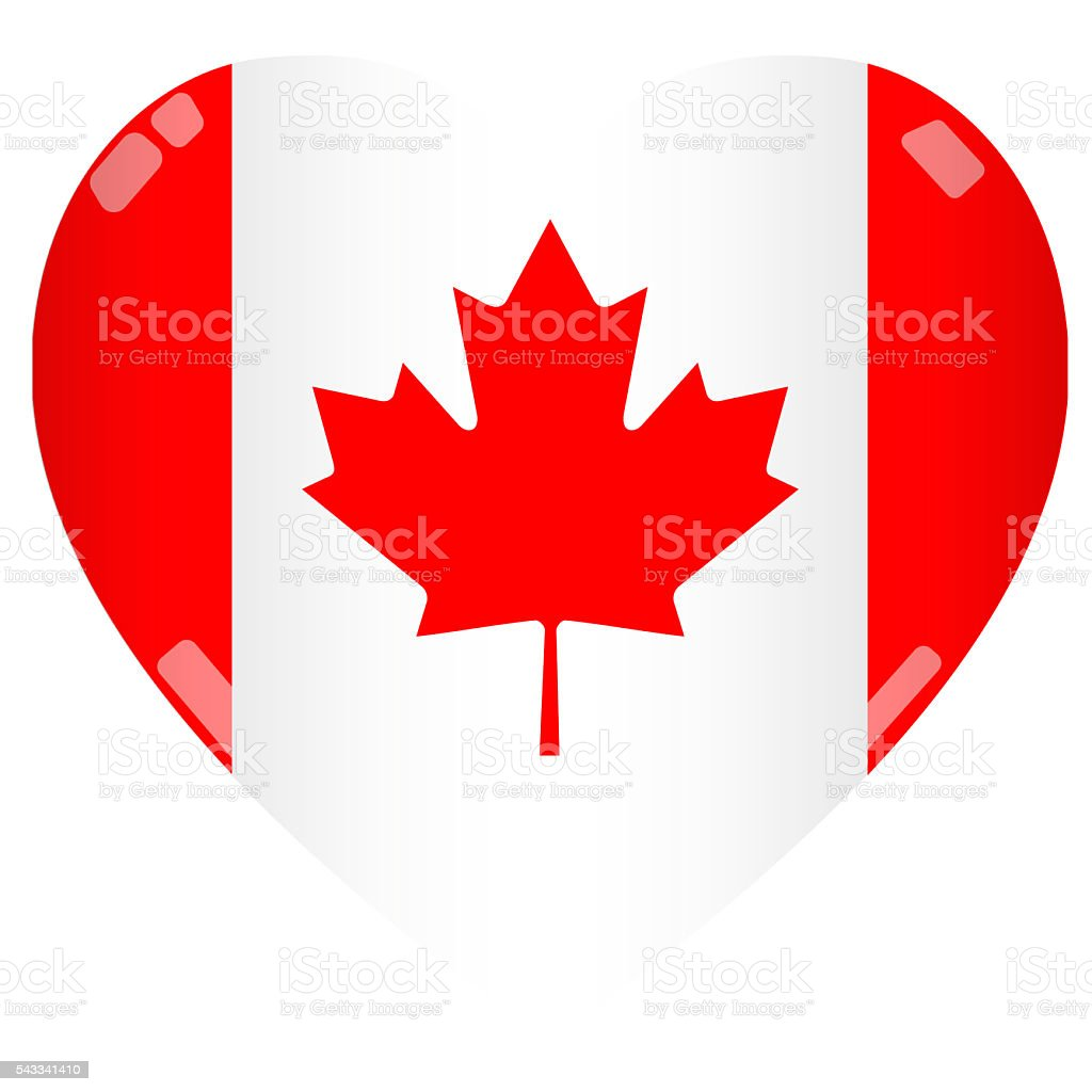 Shiny 2D Canada Flag Heart stock photo