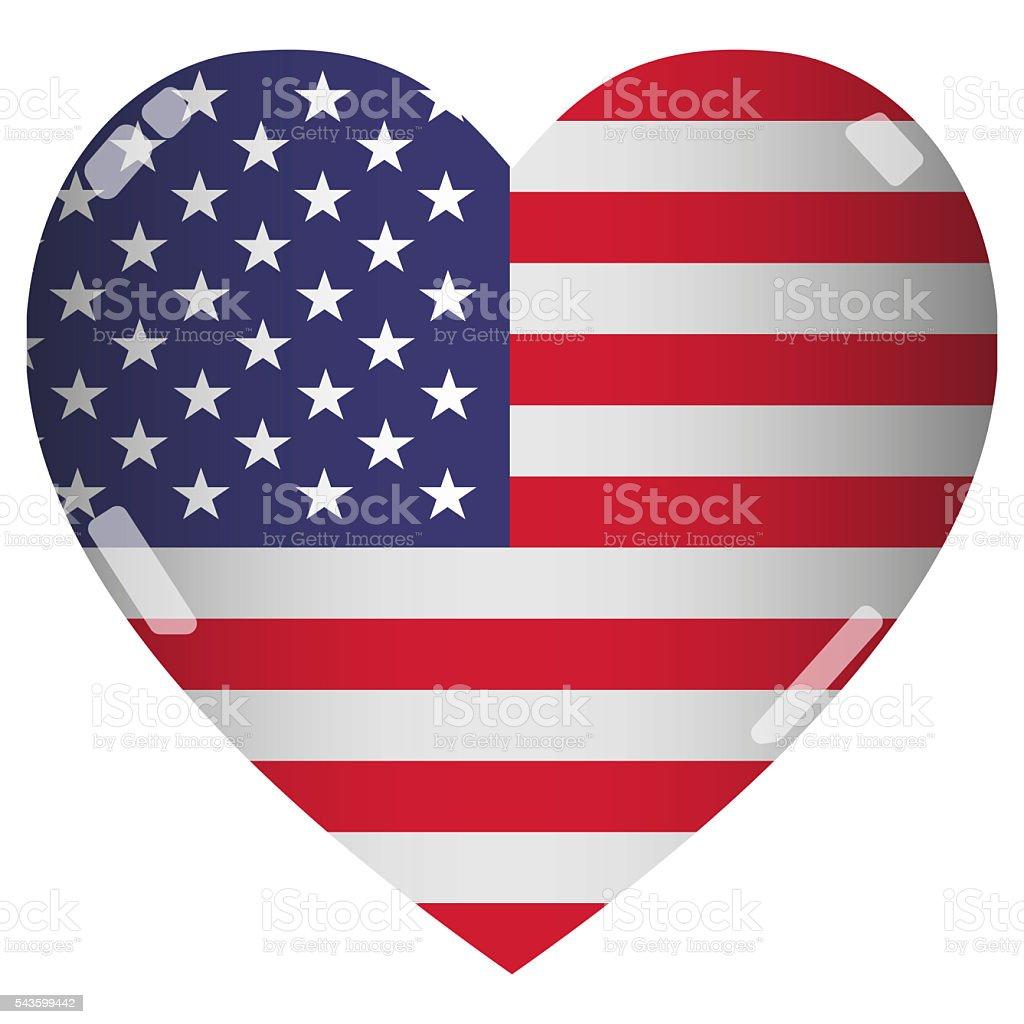 Shiny 2D USA Flag Heart stock photo