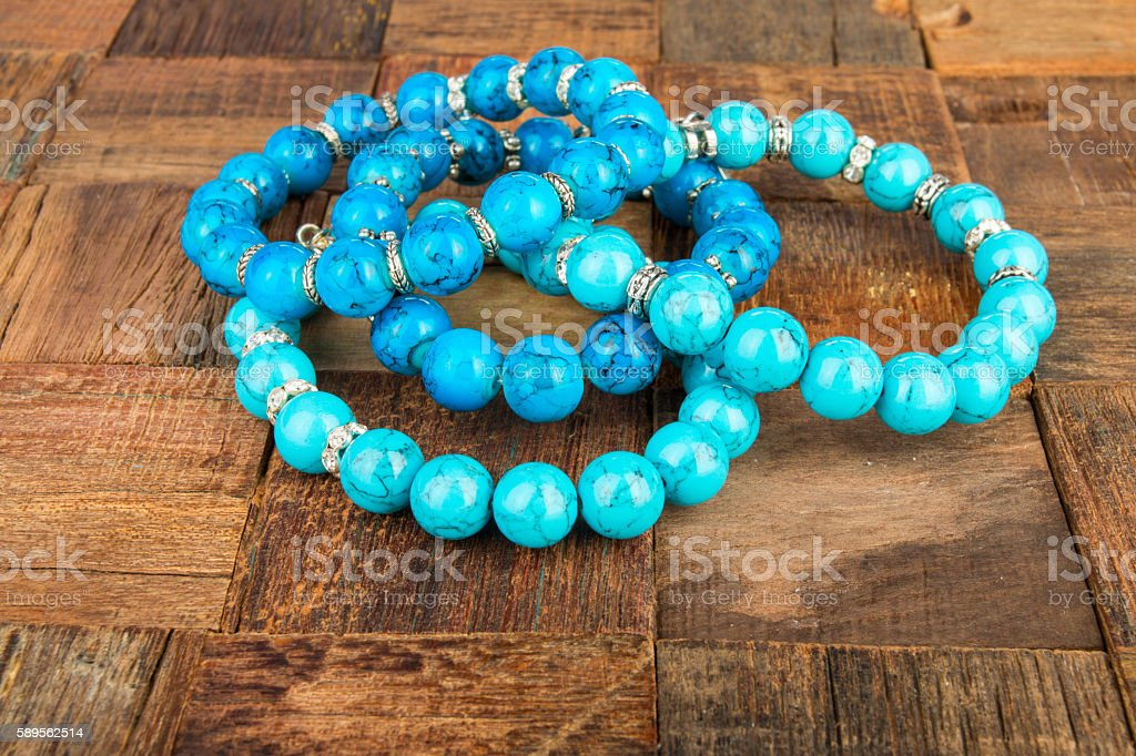 Shiny beads jewelery. stock photo