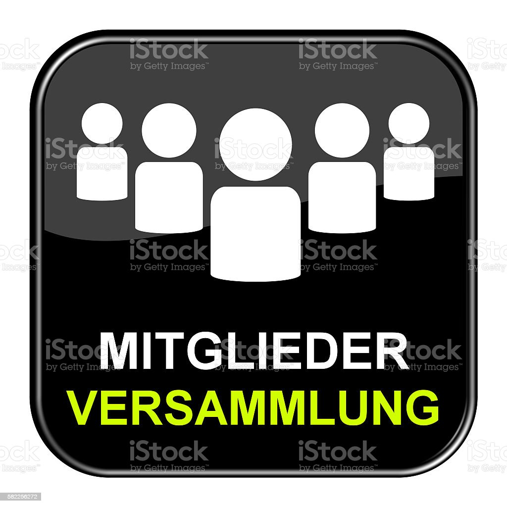 Shiny black Button Genral Assembly german stock photo