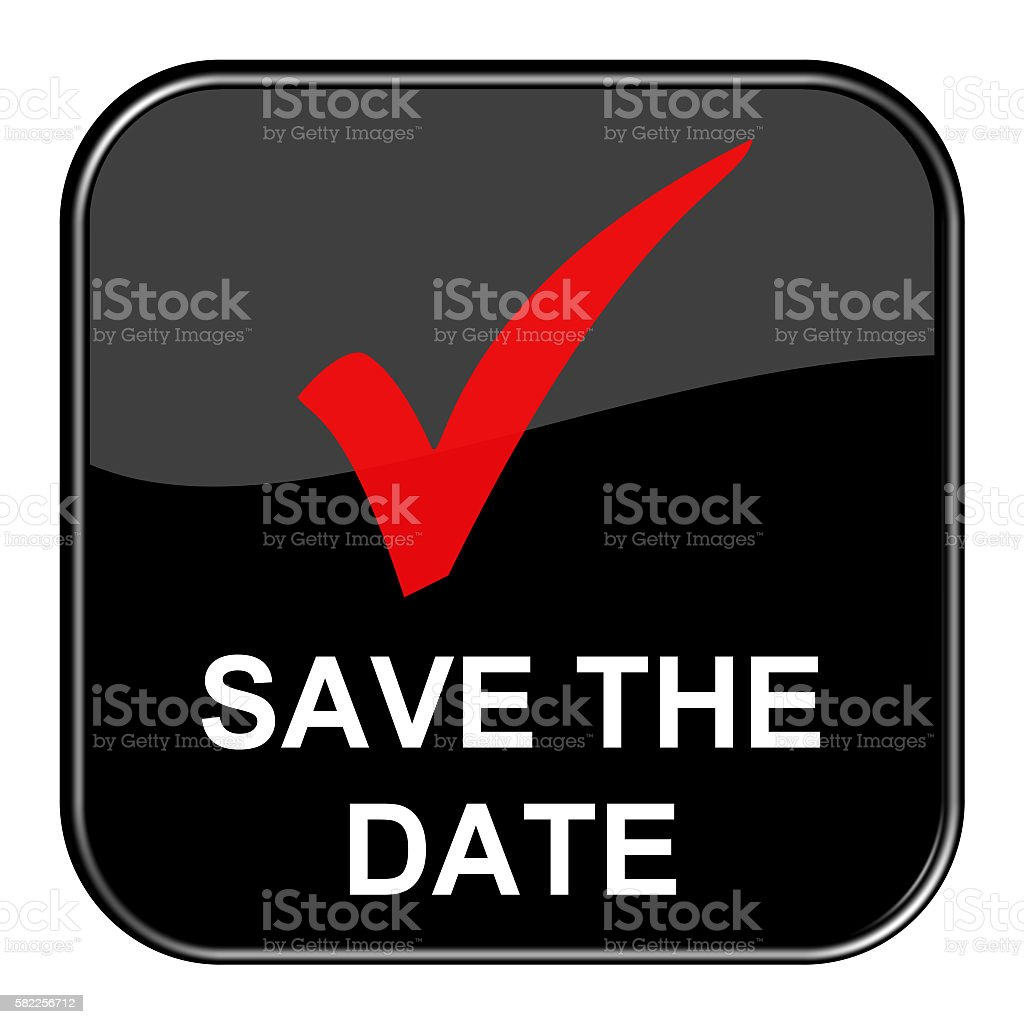 Shiny black Button Save the date stock photo