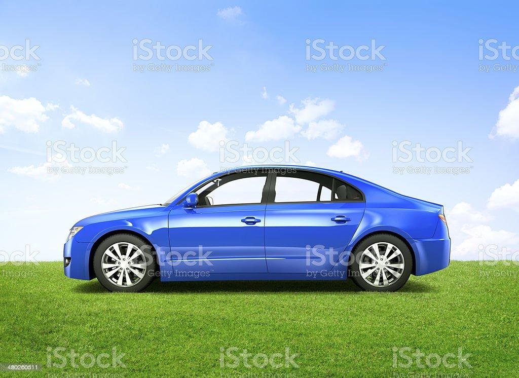 Shiny Blue 3D Sedan In The Outdoors stock photo