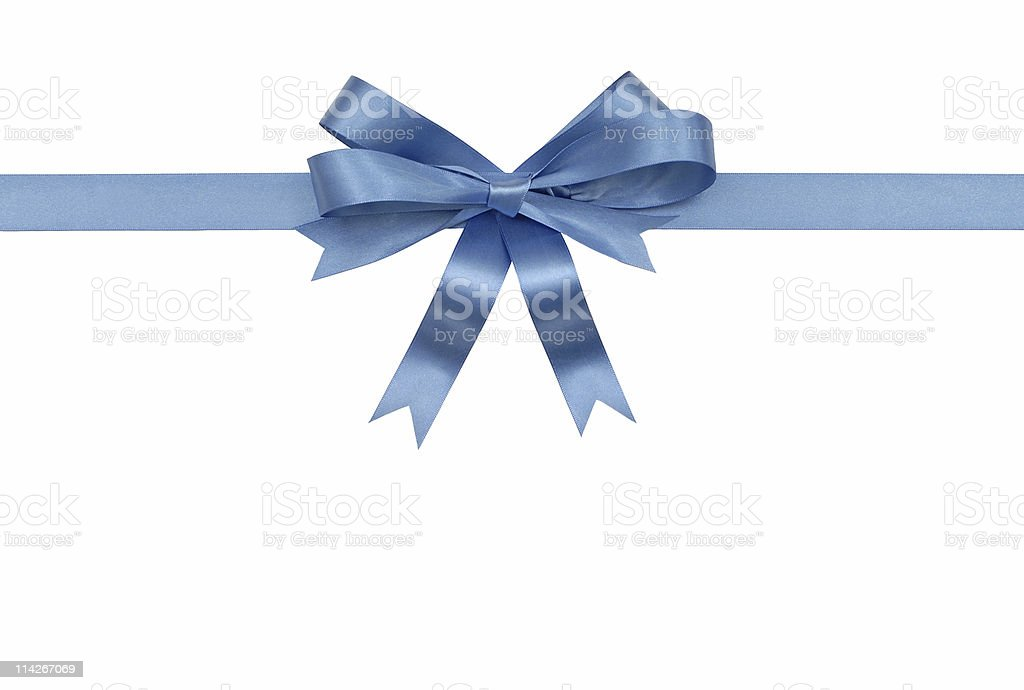 Shiny blue ribbon vector tied in a bow stock photo