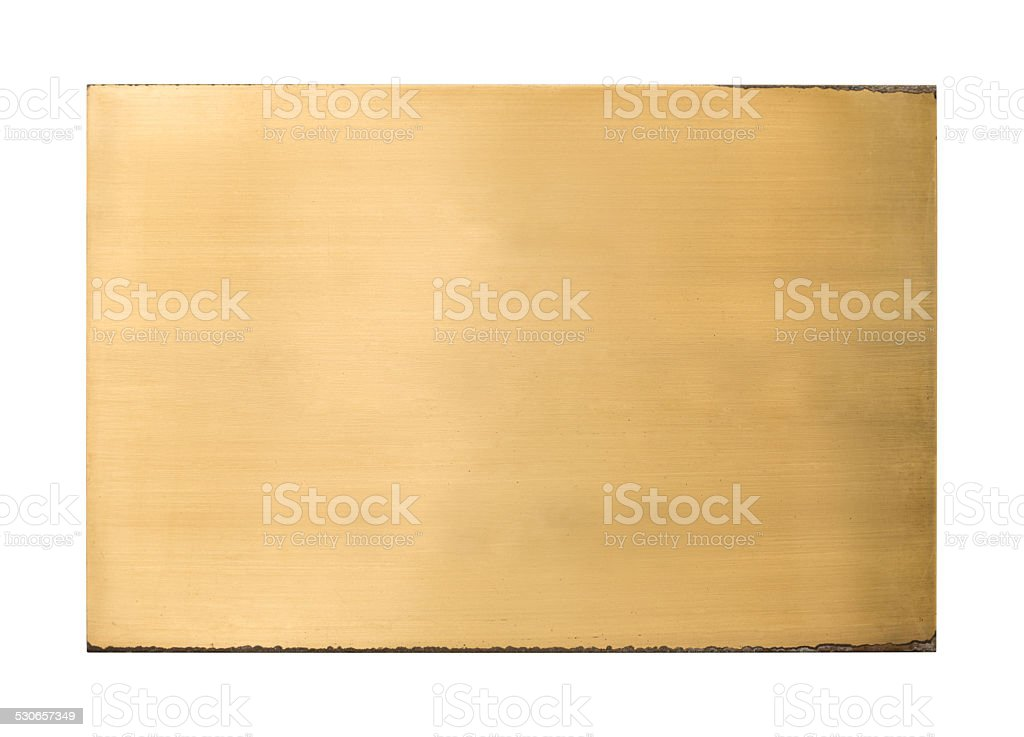 Shiny brass blank metal sign texture stock photo