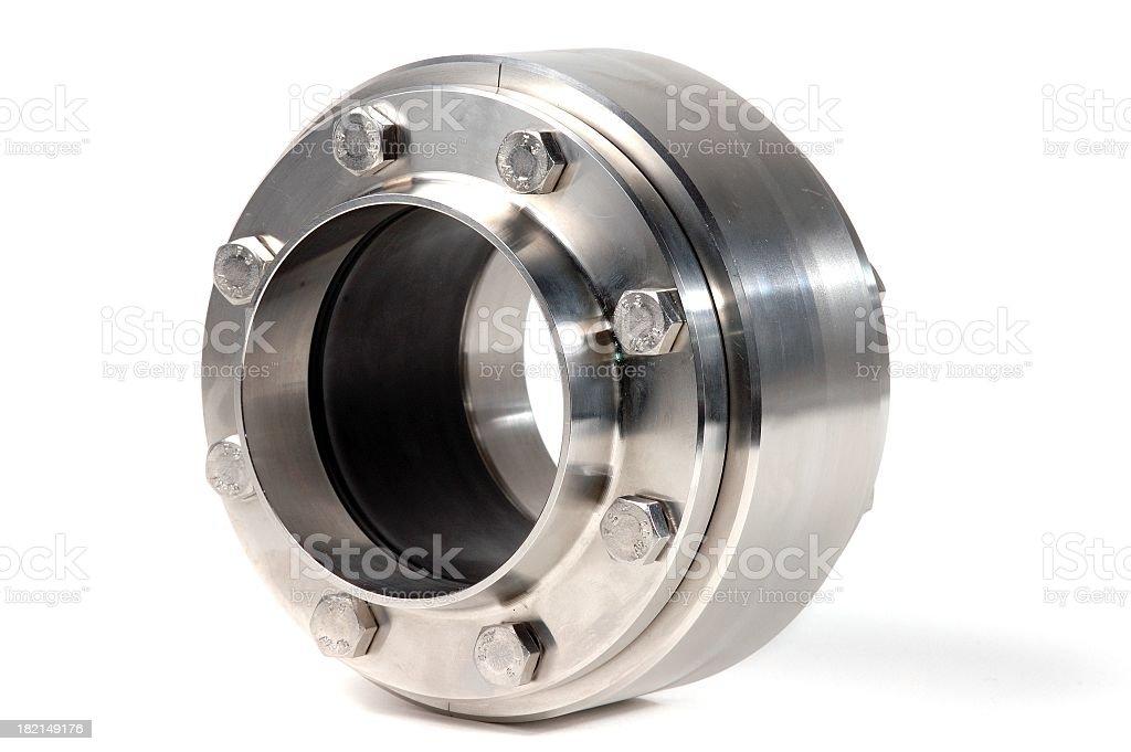 A shiny chrome valve isolated on white royalty-free stock photo
