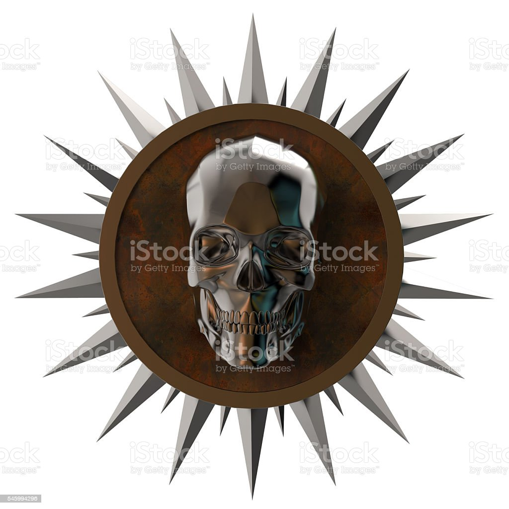 shiny dark metal skull on rusty  plate with   spikes around stock photo