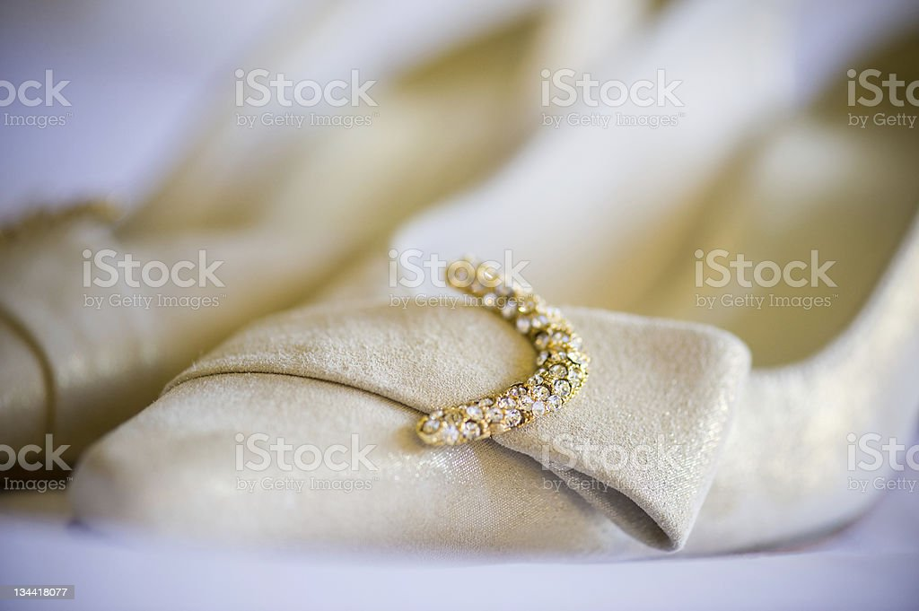Shiny Diamond Jewels on Wedding Shoes royalty-free stock photo