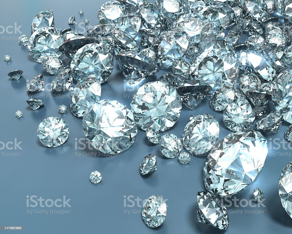 Shiny diamonds in various sizes stock photo