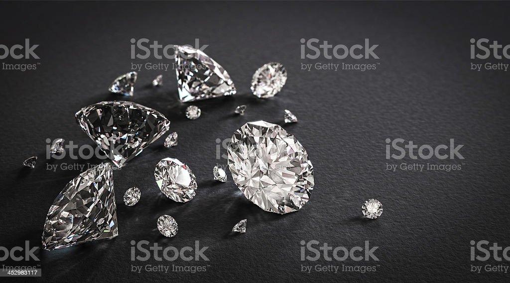 Shiny diamonds on black background stock photo