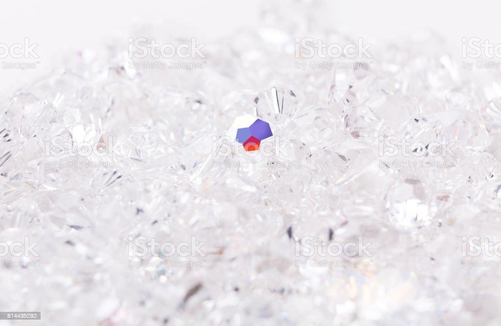 Shiny glass beads on white background stock photo