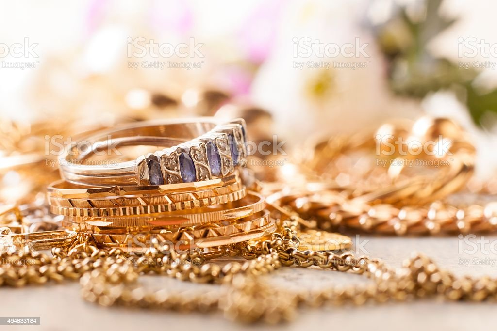 shiny gold and silver jewelery stock photo