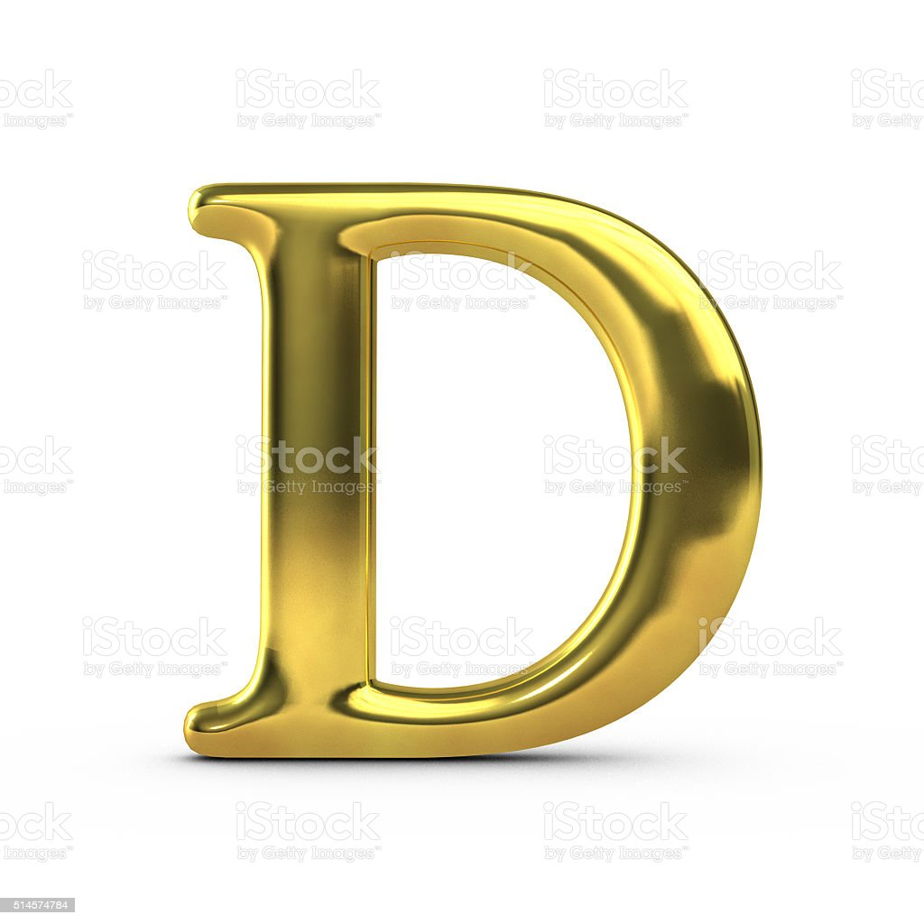 Shiny gold capital letter D stock photo