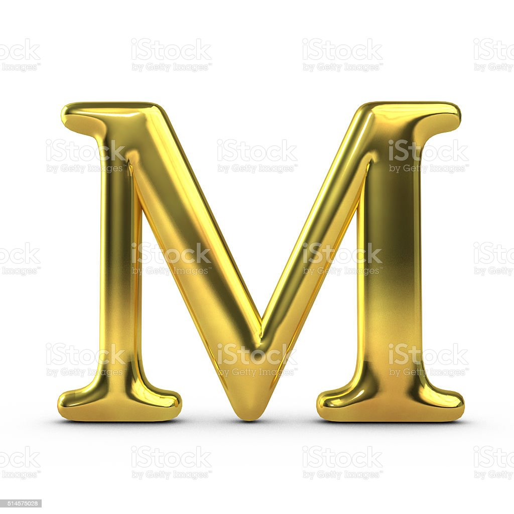 Shiny gold capital letter M stock photo