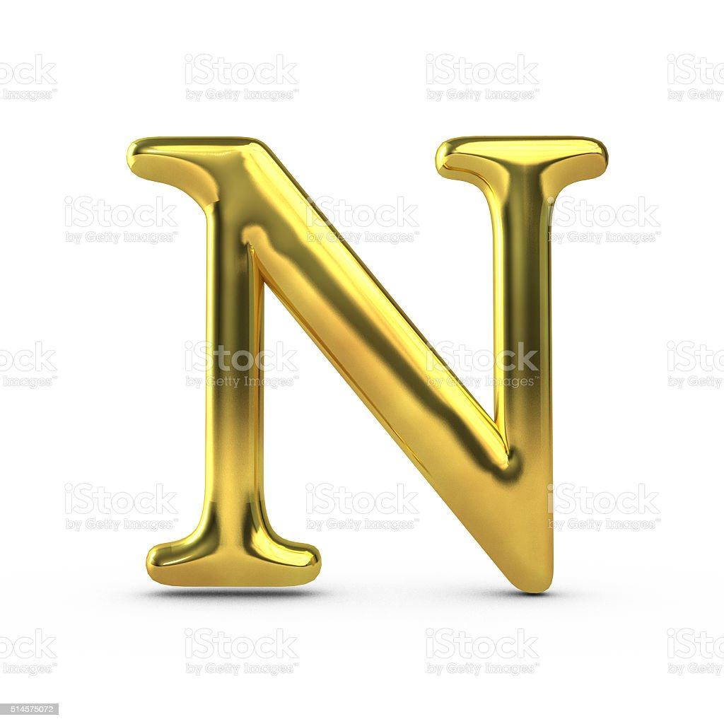 Shiny gold capital letter N stock photo