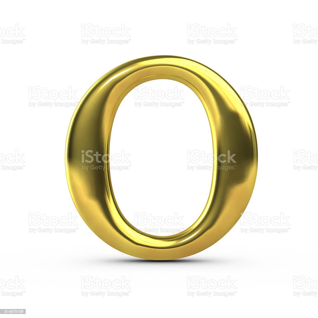 Shiny gold capital letter O stock photo
