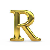 Shiny gold capital letter R