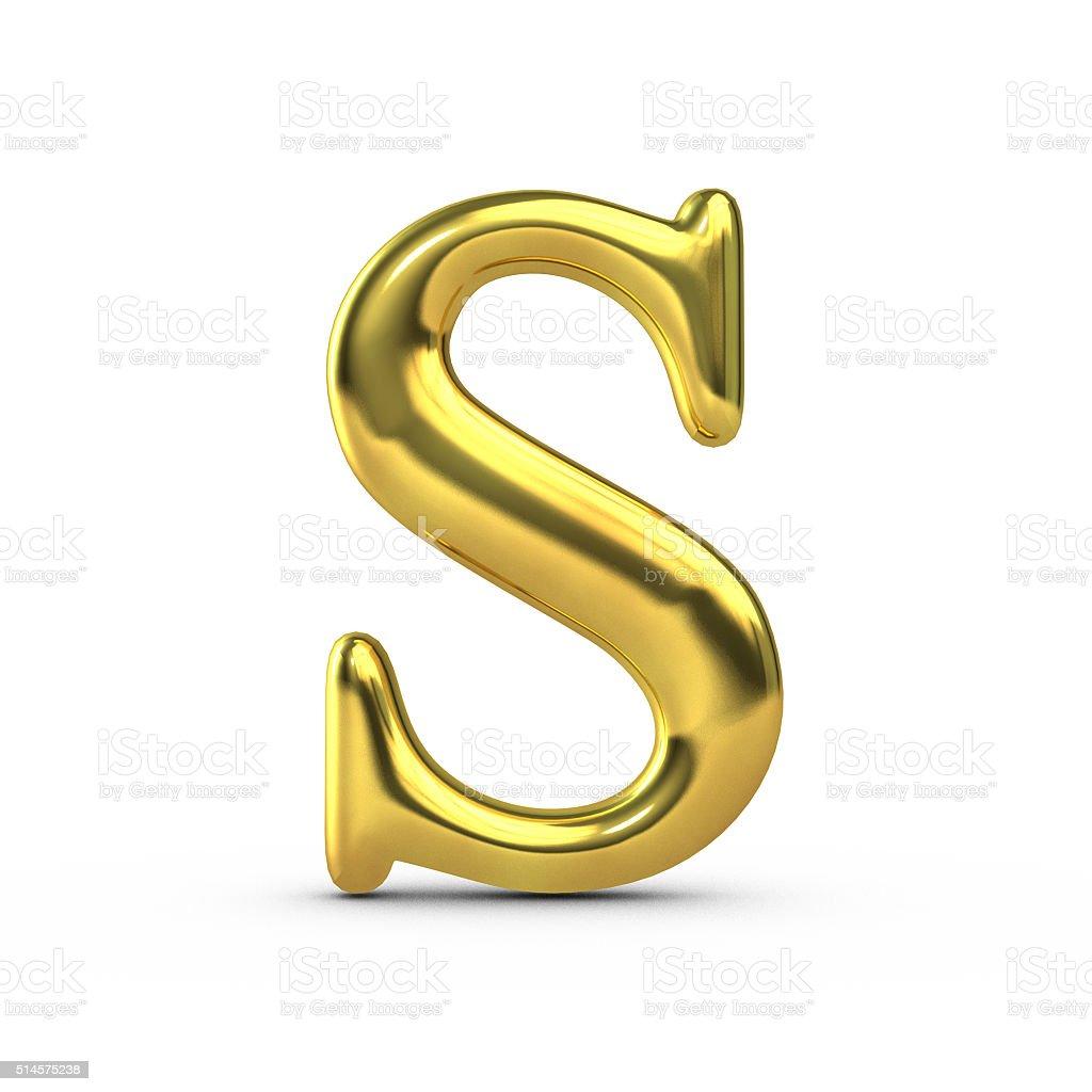 Shiny gold capital letter S stock photo