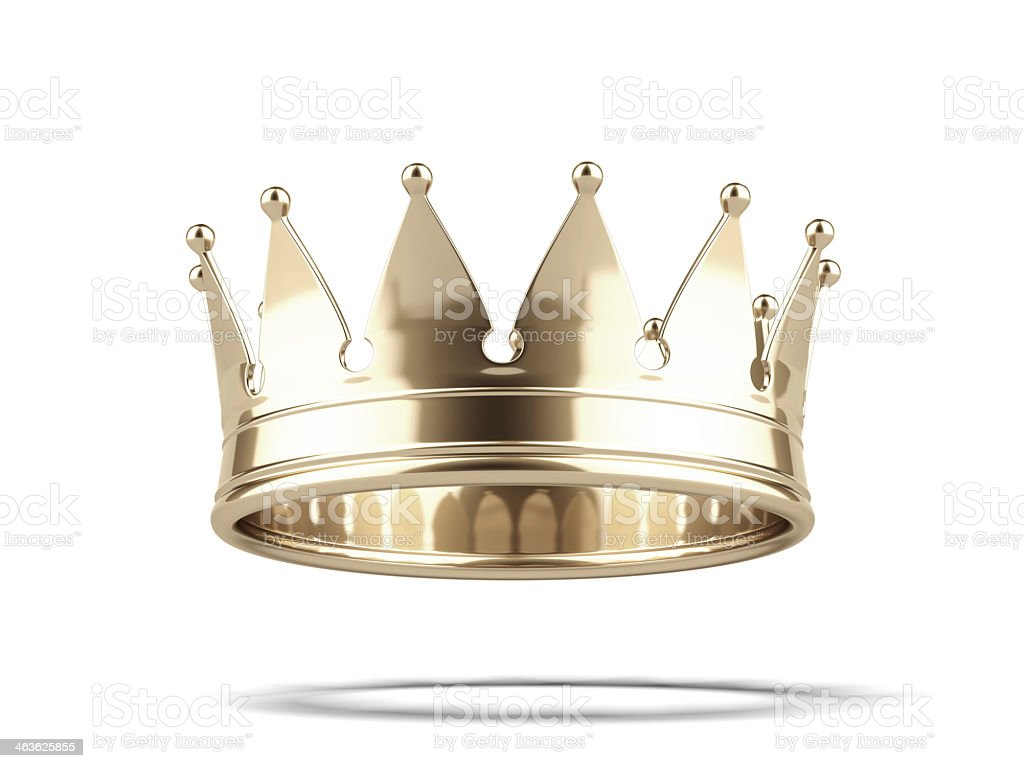 Shiny gold crown against white background stock photo