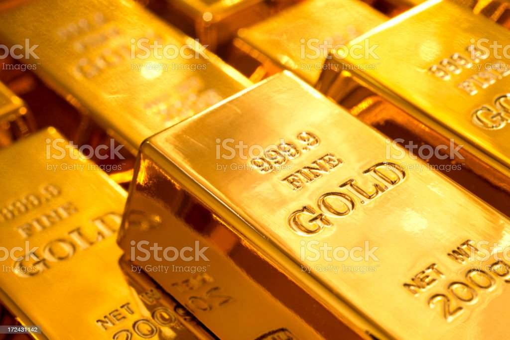 Shiny gold ingots royalty-free stock photo