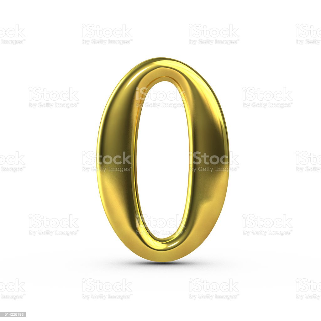 Shiny gold number 0 stock photo