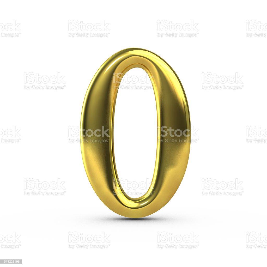 Shiny gold number 0 stock photo