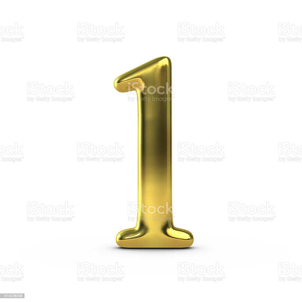 Shiny gold number 1 stock photo