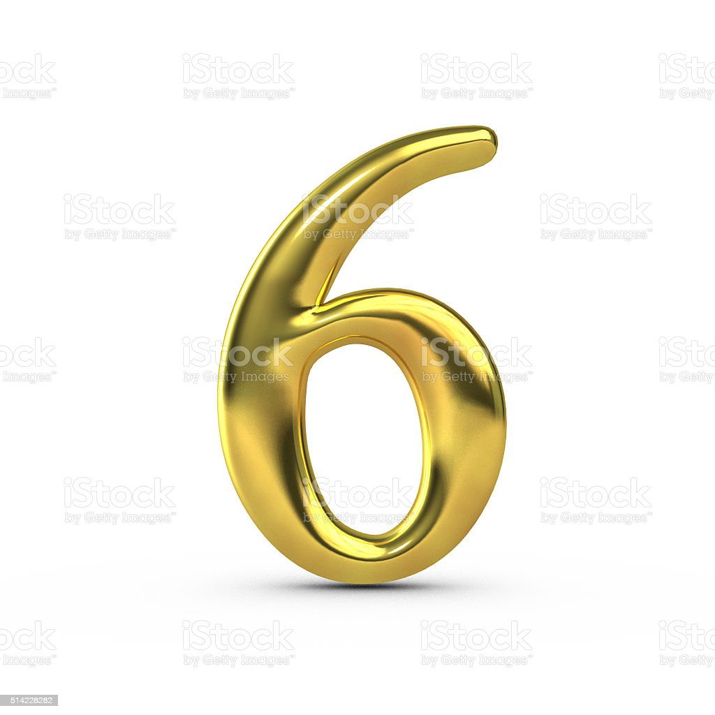 Shiny gold number 6 stock photo
