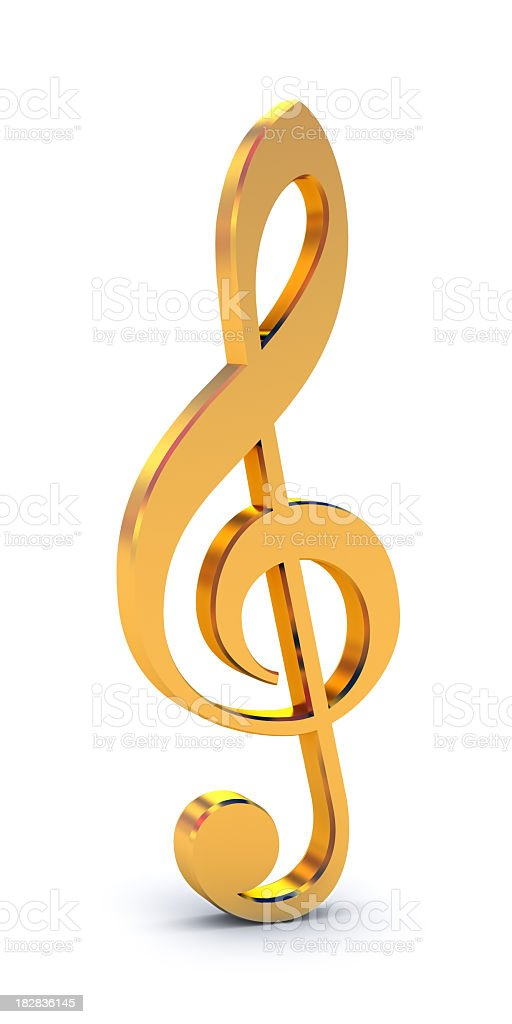 Shiny, golden treble clef free-standing symbol on white stock photo