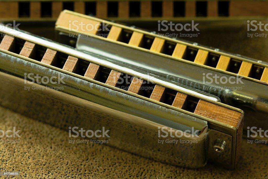 Shiny Harmonicas stock photo