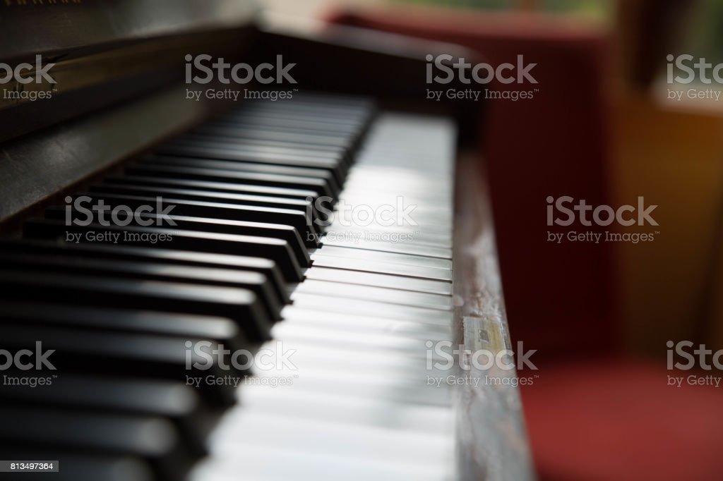 Shiny keys piano close up stock photo