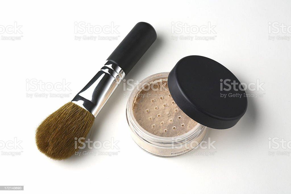 Shiny Makeup Powder with Brush royalty-free stock photo