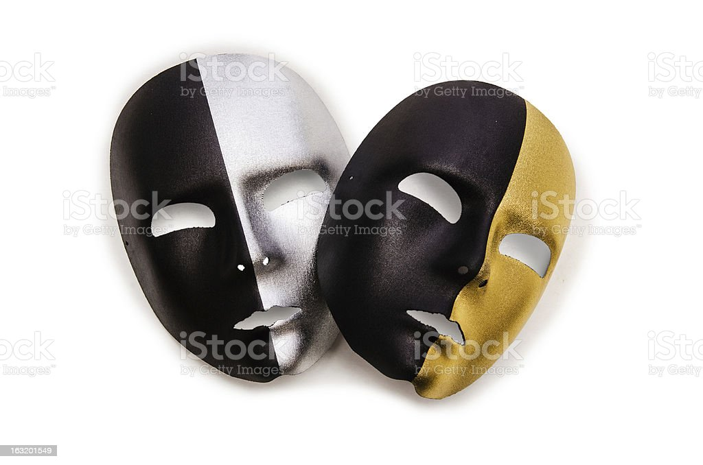 Shiny masks isolated on white background royalty-free stock photo