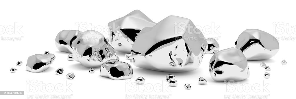 Shiny metal nuggets and pieces stock photo