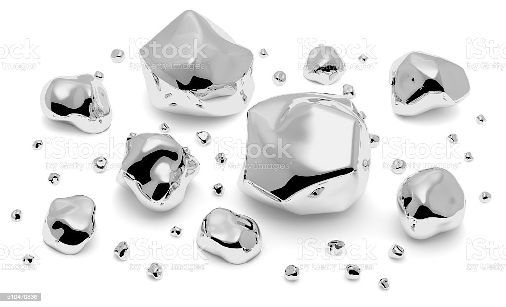 Shiny metal nuggets, pieces and grains stock photo