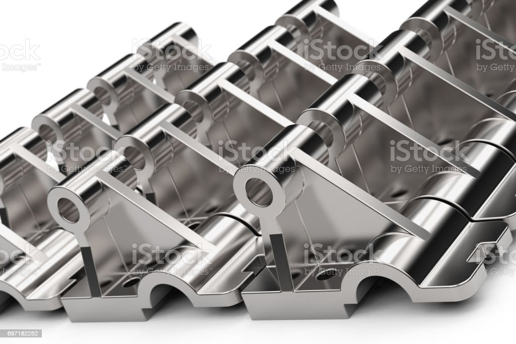 Shiny metal parts made of steel on a white background. 3D illustration. stock photo