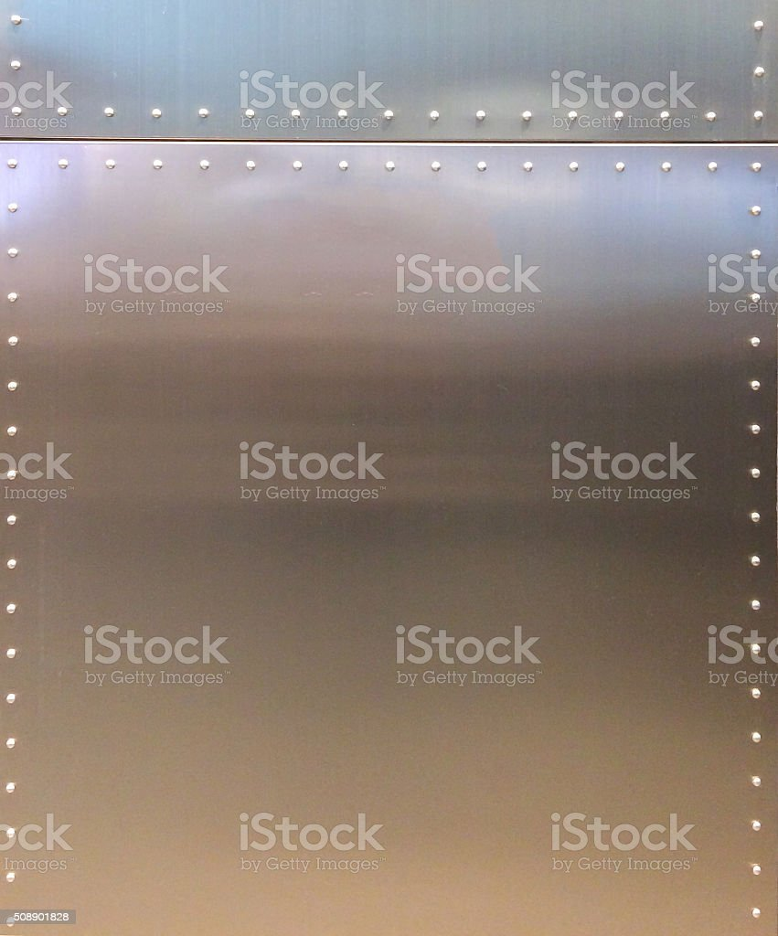 Shiny Metal Texture Background with Button and Line stock photo
