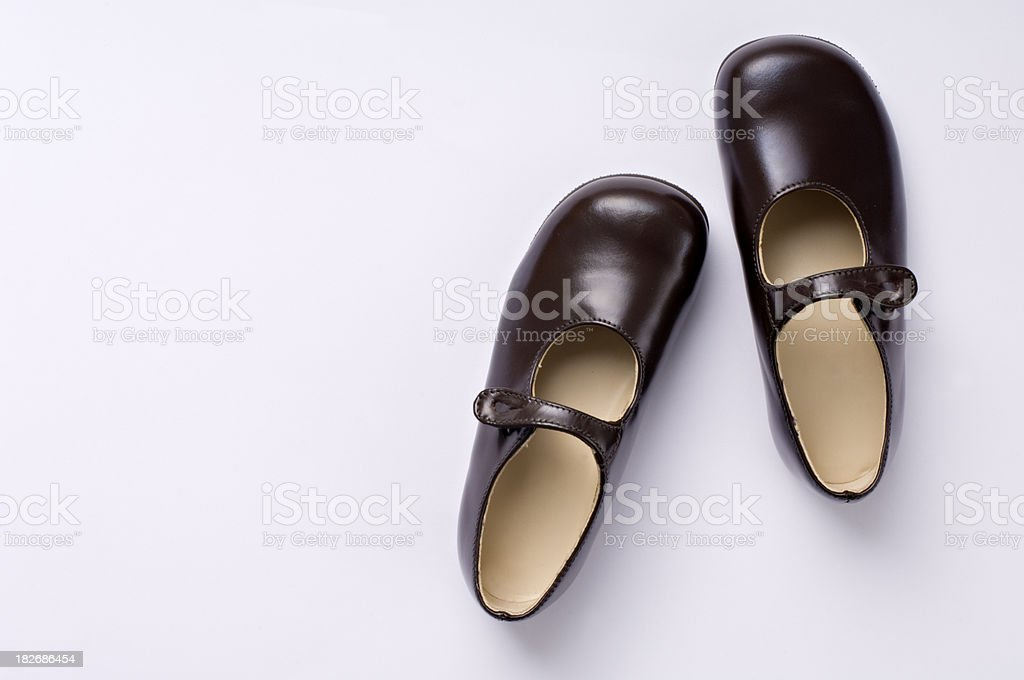 Shiny New Pair of Child's Shoes In Their Box stock photo