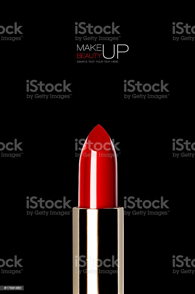 Shiny new red or scarlet lipstick over black stock photo